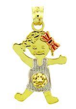 Multi-Tone Gold November Birthstone Citrine Yellow CZ Baby Girl Charm Pendant