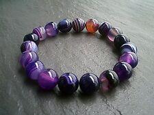 Purple Striped Agate 10mm Gemstone Bracelet Jewellery Natural Healing Stone UK