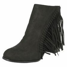 * Vendita * Spot on F50489 Donna Nero Stivali Scarpa FRANGE IN MICROFIBRA
