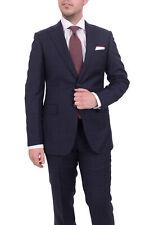 Mens Napoli Slim Fit Navy Blue Plaid Half Canvassed Super 150s Wool Suit