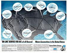 "General Motors ""On-Line Service"" Locomotive Railroad Metal Sign"