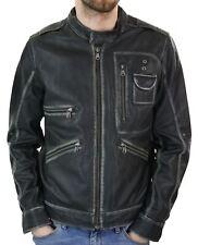 Veste bomber motard cuir marron patiné moto vintage hiver homme