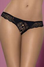 Offener String Miamor schwarz mit Spitze Stretch Thong transparent S M L XL