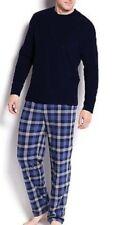 Club Room Mens PJ Set Long Sleeve Fleece Shirt & Pants Navy Plaid Choose Size