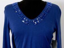 Liz Claiborne Sweater Royal Blue Knit Top Petite NEW *  Bling Stones V Neckline