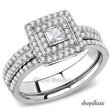 Steel Wedding Ring Set Women'S Size 5-10 1.25 Ct Halo Princess Cut Cz Stainless