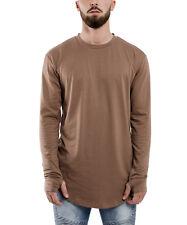 Phoenix Oversize Round Long-Sleeved T-Shirt Brown Longshirt Long Men's Longline