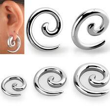 Pair Jewelry Polished Metal Steel Ear Plugs Curled Spiral Hanger Earrings 10G-0G