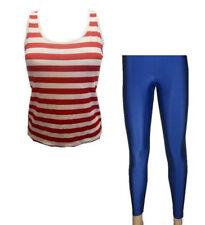 Rouge & blanc rayure gilet, haut, bleu roi foncé Legging costume déguisement