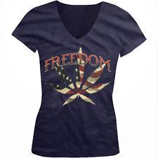 Freedom Pot Leaf Weed Red White Blue Flag USA America US Juniors V-Neck T-Shirt