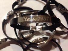 50 bracciali acciaio tipo pelle scritta classe . coscritti festa 1957 TUTTE DATE