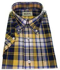 Mazeys Mens Navy/Yellow 100% Cotton Short Sleeved Shirts