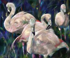 PRINT Pink Flamingos Bird Feathers  marsh tropical art Mary SPARROW