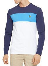 Lyle & Scott Men Long Sleeve Cotton Slim Stripe T-Shirt Henley Top White Blue