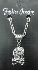 "20"" 24"" Inch Chain Necklace & Skull & Crossbones Pendant Goth Emo Gothic Biker"