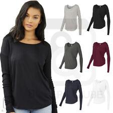 Bella + Canvas Ladies Flowy Long Sleeve T Shirt 2x1 Rib Sleeves S-2XL  - 8852