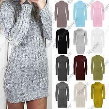 New Women Cowl Polo Neck Cable Knit Jumper Pullover Bodycon Mini Dress Tunic Top