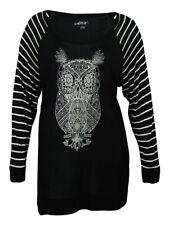 Style & Co Women's Owl-Print Striped-Sleeve Blouse