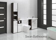Mali WENGE / BIANCO LUCIDO BAGNO MONTATO Furniture 2100 mm con unità Tall