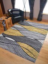 Quality Lt Silver Ochre Yellow Lemon Waves Floor Mat Rugs Long Hall Runner Cheap