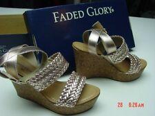 NIB Womens Platform Wedge Sandal Faux Cork Ankle Strap Braided Detail Shoes Rose