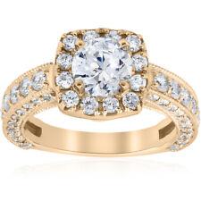 2 1/2ct Round Cut Diamond Engagement Ring Cushion Halo Yellow Gold Enhanced