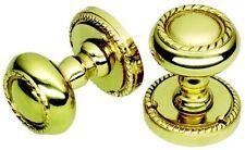 Georgian Style Polished Brass Door Knobs - Sprung