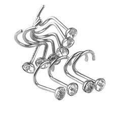 Stainless Steel Body Piercing Jewelry Crystal Nose Bone Gem Stud Screw Ring Fu