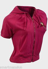New Girls Ladies Cotton Short Sleeve Zip Trough Hoodie Top Sweat Shirt Size 4-14