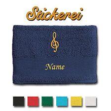 serviette de bain brodé Broderie Notes Musique Clef + Nom