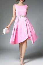 Elegante raffinato vestito abito corto manica lunga rosa cintura slim 3677
