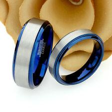 Tungsten Wedding Band Set, 8mm, 6mm, Brushed Top Blue Tungsten Ring Set