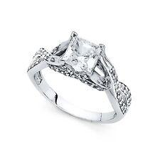 Engagement Ring Stylish Anniversary Cz Band 14k Yellow Or White Gold Princess Cz