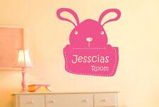 Personalised Bunny Rabbit Kids Room Sign Wall Stickers Vinyl Art Decals