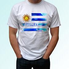 Uruguay flag design white t shirt top modern tee - mens womens kids baby sizes