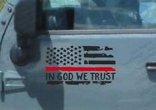 2 Pack L/R Red Line - IN GOD WE TRUST USA Flag fire Vinyl Decal FIREFIGHTER BG15
