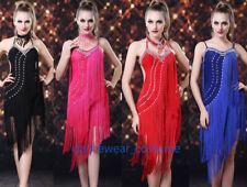 Women Cocktail Club Party Ballroom Latin Tango Salsa Beadings Fringe Dance Dress