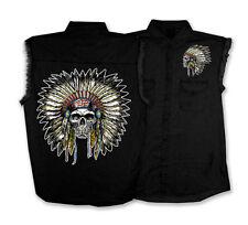 indian Headress Sleeveless black Denim SHIRT BIKER MC Denim SHIRT
