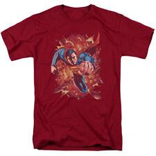 Superman Through Flame Mens Short Sleeve Shirt