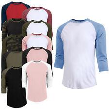 Men's New Premium 3/4 Sleeve Baseball Raglan Jersey Vintage T-Shirt NEMT06