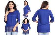 Reino Unido stock-Mujeres Moda indio Kurta Kurti Túnica Superior Camiseta Algodón MM176 Azul