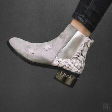 Women's Round Toe Punk Combat Side Zip Biker Chunky Block Heel Ankle Boots 34-48
