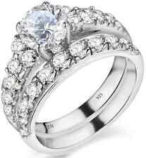 925 Sterling Silber Damen Luxus Einzigartig Hochzeit Verlobung Braut Band Ring Set