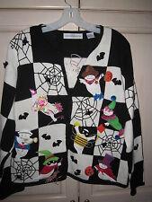 Marisa Christina Sweater Black Spider Web Size M Halloween Ghosts FUN!