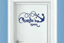 Personalised ship anchor kids room door Wall Stickers Vinyl Art Decals