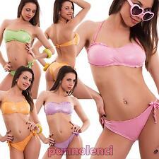 Bikini donna costume bagno fascia brasiliana brillantini due pezzi nuovo SE615