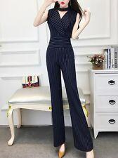 Élégant full suit complete woman trousers long tank top pinstriped blue 3767