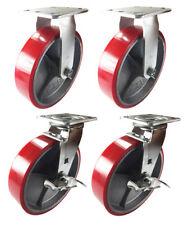 "4 Heavy Duty Caster 8"" Polyurethane Cast Iron Wheels Rigid Swivel & Brake Red"