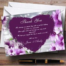 Violet Coeur Fleurs Mariage Personnalisé cartes remerciement