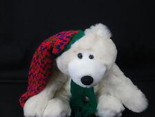 CHRISTMAS WHITE POLAR BEAR SITS HOLIDAY KNIT HAT SCARF PLUSH STUFFED ANIMAL